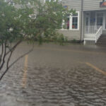 Front Street in Beaufort, North Carolina, during a particularly high tide known as a king tide.