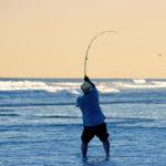 A fisherman casts into the surf as the sun sets along Carolina Beach.