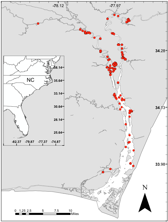 Cape Fear River, NC. Red symbols indicate juvenile southern flounder capture locations.