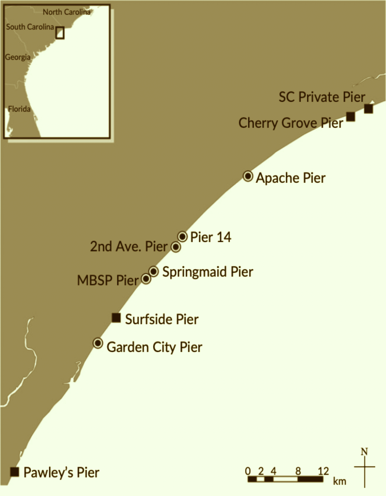 Black circles indicate piers that researchers monitored.