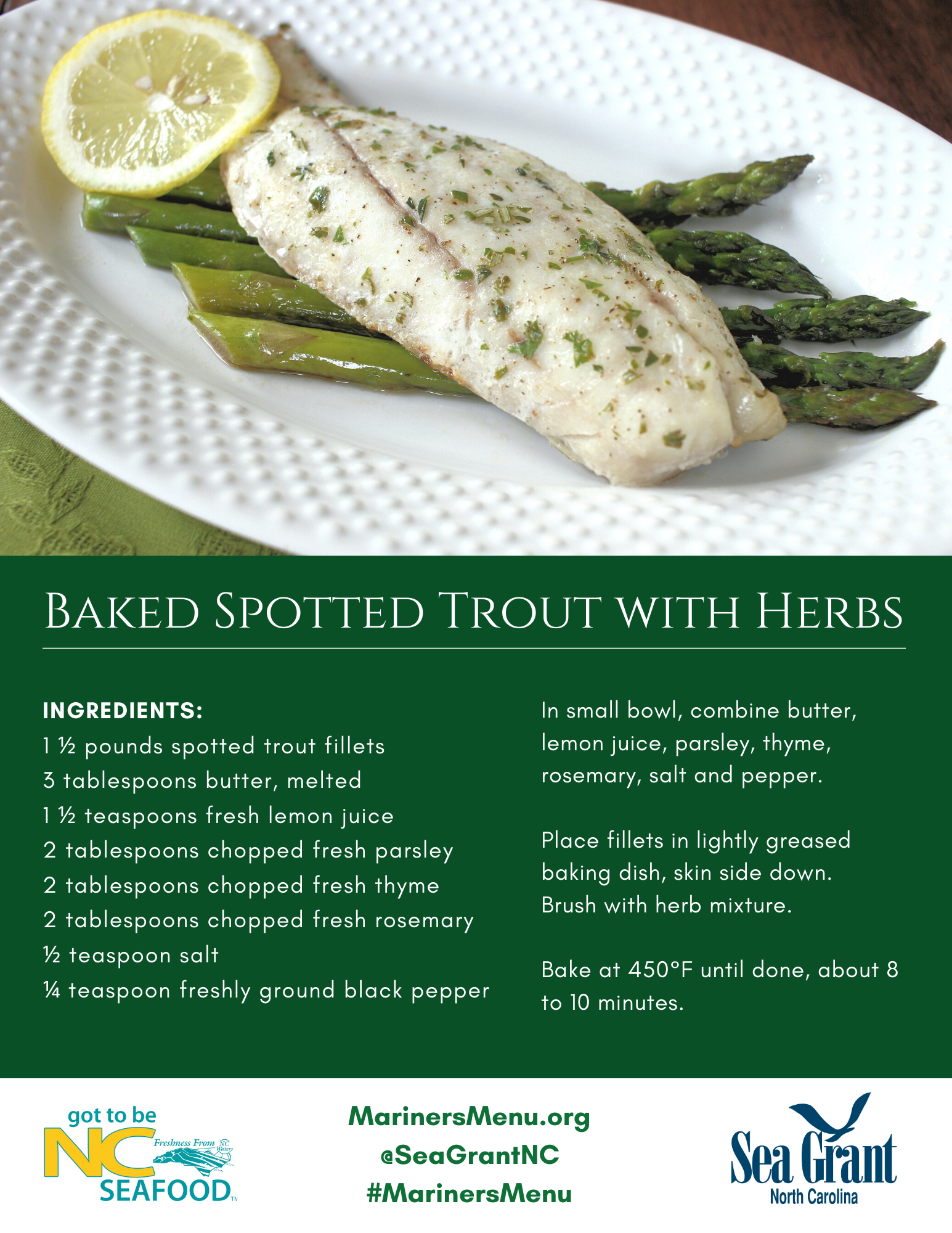 Baked Spotted Trout with Herbs recipe