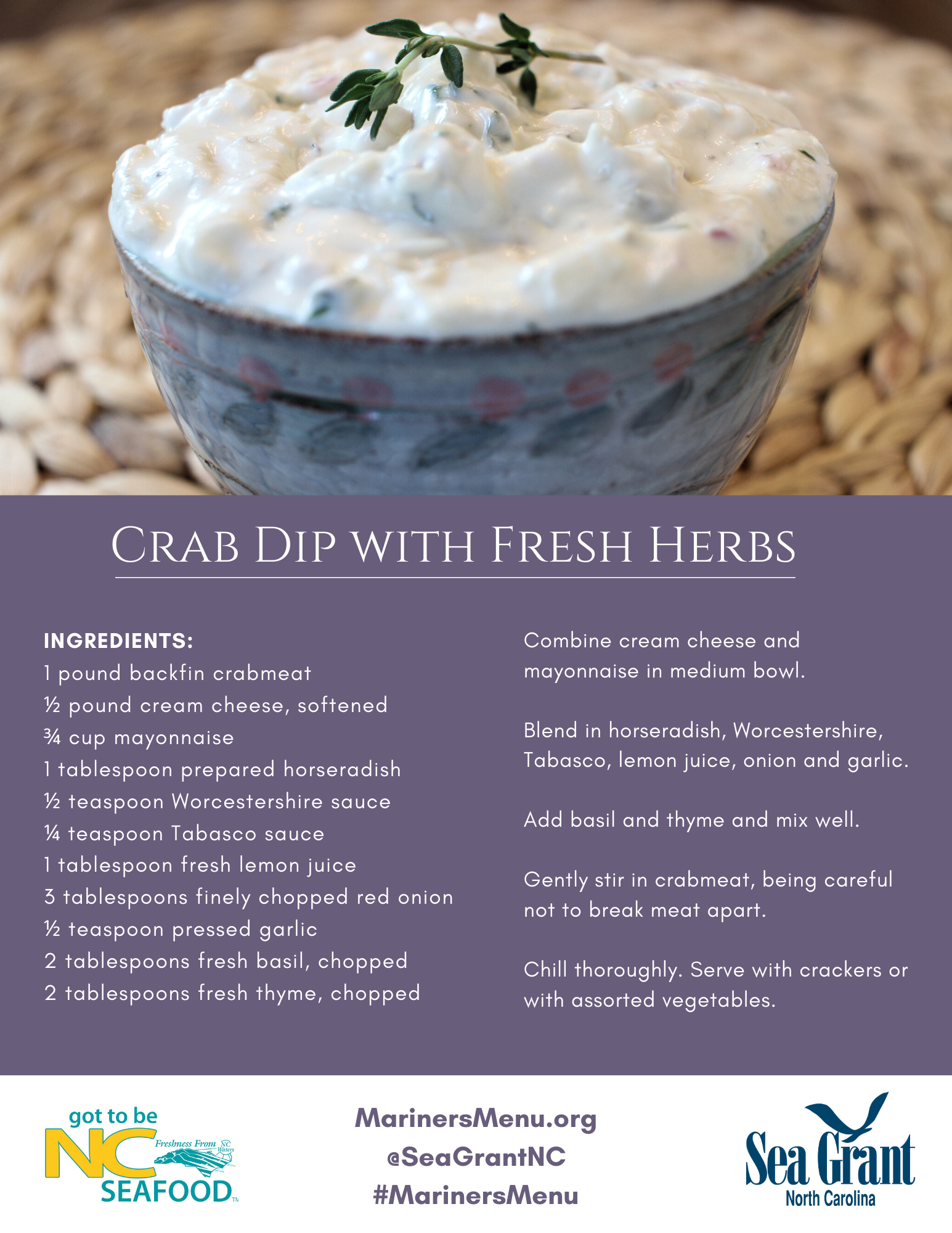 Crab Dip with Fresh Herbs recipe