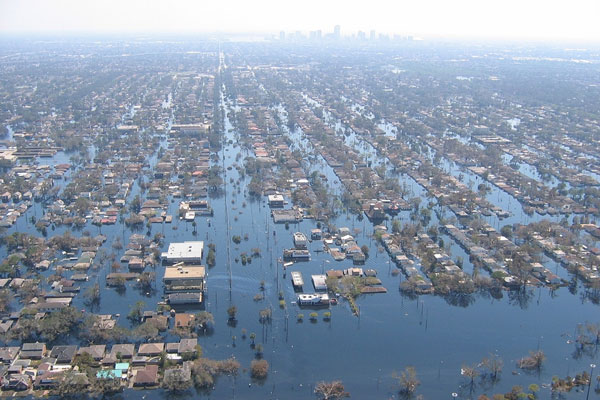 Aerial view of flooded New Orleans after Hurricane Katrina. The Lower 9th Ward in New Orleans flooded after Hurricane Katrina. Photo by Lieut. Commander Mark Moran, NOAA Corps, NMAO/AOC.