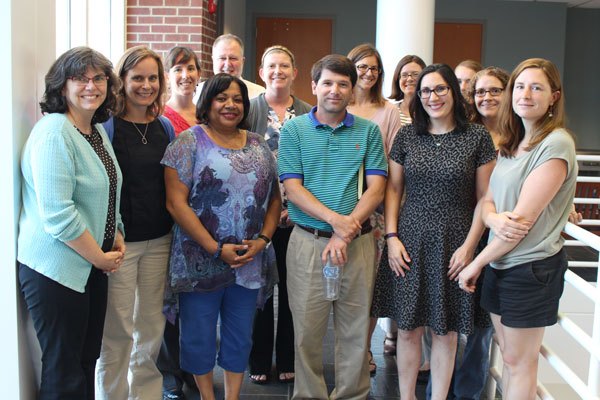 Lisa Schiavinato, front row, second from right, said goodbye to her North Carolina Sea Grant colleagues at the end of August. Photo by E-Ching Lee