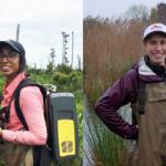 Melinda Martinez and Emily Ury take measurements in coastal wetlands