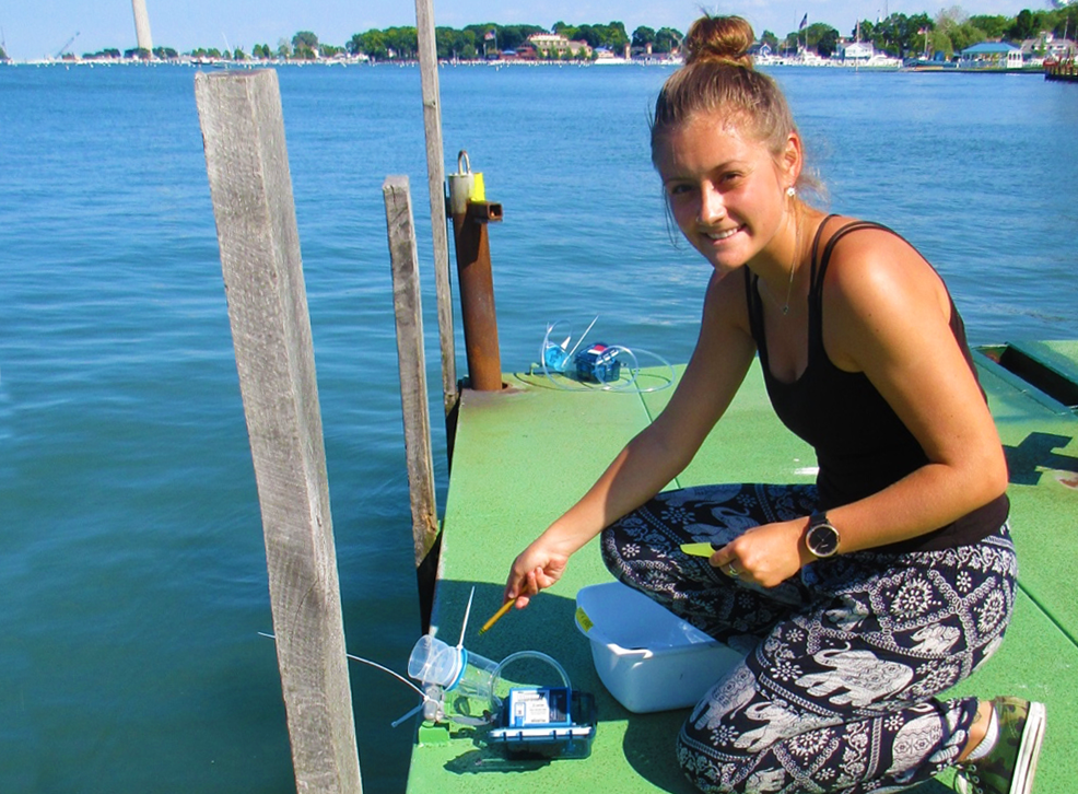 In the field: Haley Plaas, the recipient of the 2020 joint fellowship from North Carolina Sea Grant and the Albemarle-Pamlico National Estuary Partnership.