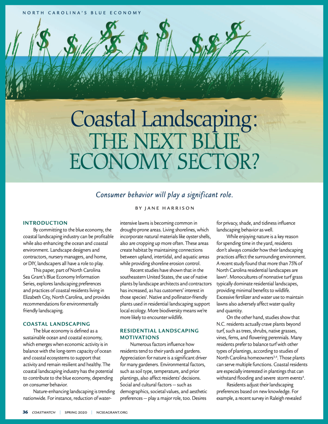 First page of Blue Economy information series, issue 5