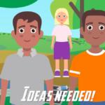 a cartoon graphic of kids