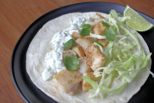 Striped Bass Tacos with Creamy Guacamole
