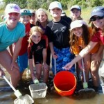 Students and their teacher visit a barrier island.