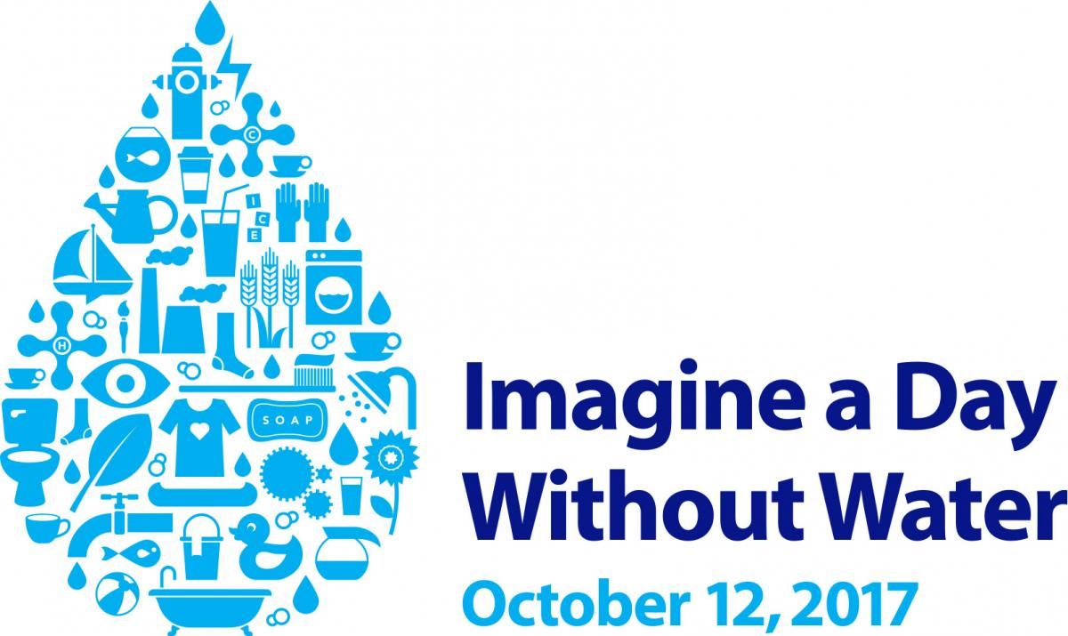 Imagine a Day Without Water logo of water drop made up of pictures of items that use or need water