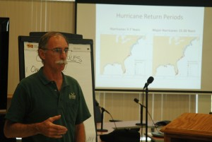 Spencer Rogers discusses storms at a meeting in Hyde County, NC.