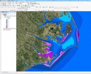 Screen-shot of the visualization (in ArcMap) of maximum water levels (in feet) along the NC coast predicted by ADCIRC based on NHC Advisory 12 for Hurricane Arthur.