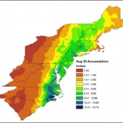 Map of total rainfall from Hurricane Irene, August 28 and 29, 2011