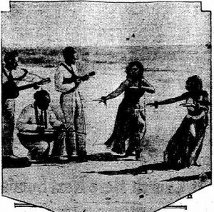 Willie Kaiama and his troupe of Polynesian entertainers gave surfing demonstrations in Dare County in 1928. This promotional photo was taken promote a similar exhibition at Virginia Beach in 1931, and appeared in the Charlotte Observer.