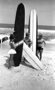 A group of young surfers in Kure Beach on July 25, 1965. Courtesy The News & Observer.