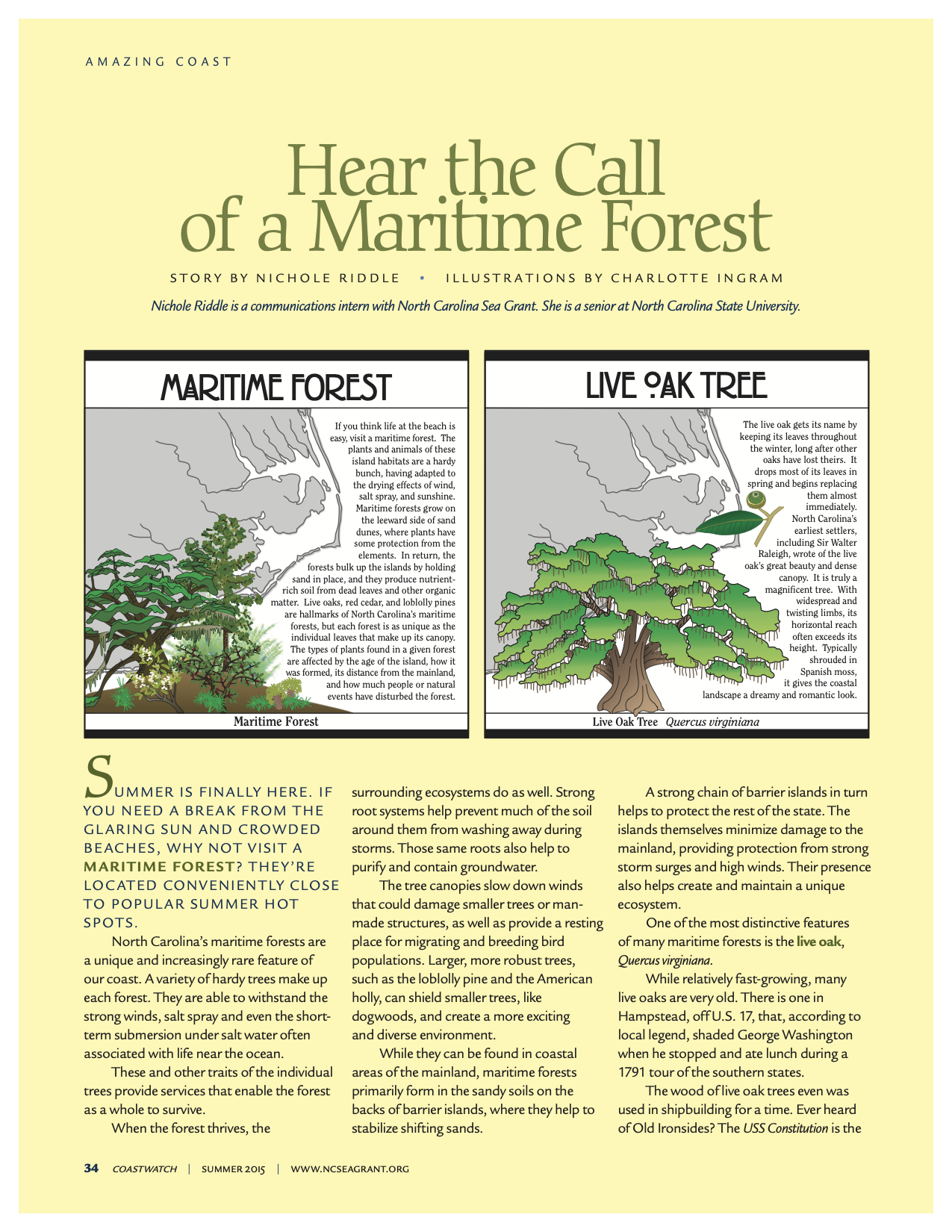 "An image of the first page of the article, ""Hear the Call of a Maritime Forest"""