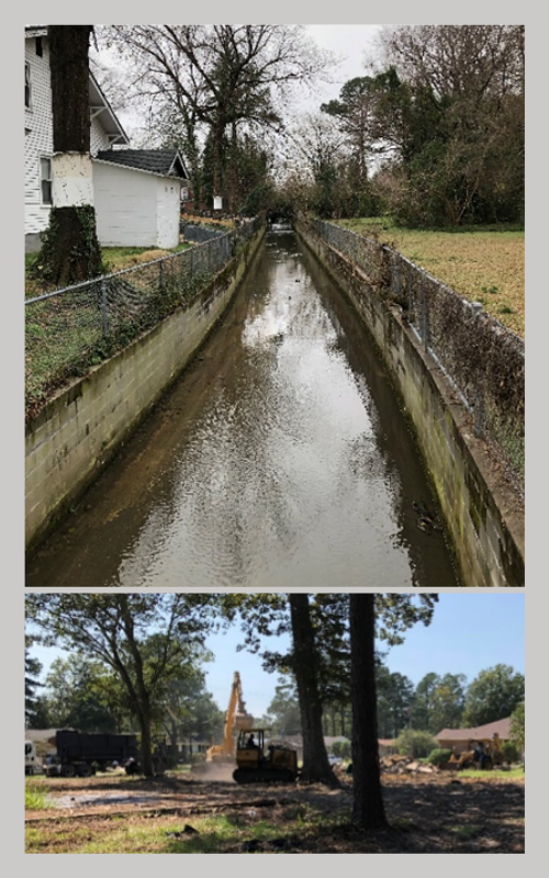 Top: Concrete walls armoring Big Ditch in Goldsboro, North Carolina. Bottom: Workers demolish a house on property acquired though the FEMA HMGP in Lumberton.