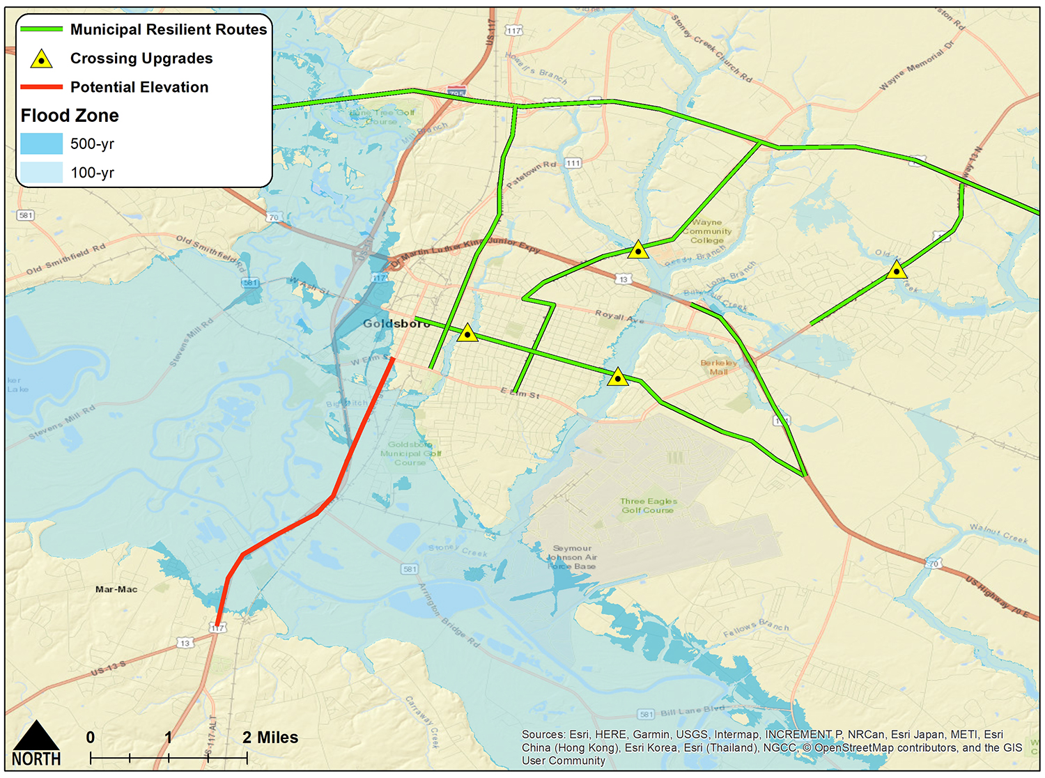 Example of resilient routes in Goldsboro. Credit: N.C. Sea Grant/NC State Department of Biological & Agricultural Engineering