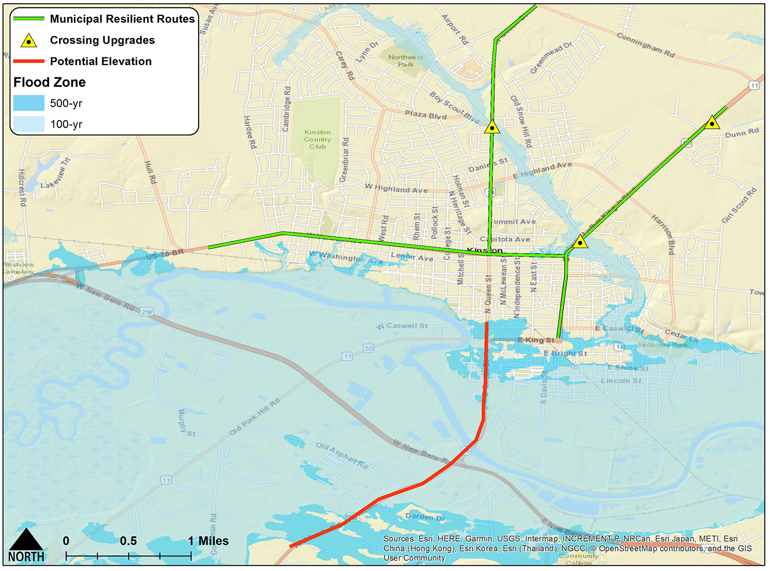 Examples of resilient routes in Kinston. Credit: N.C. Sea Grant/NC State Department of Biological & Agricultural Engineering