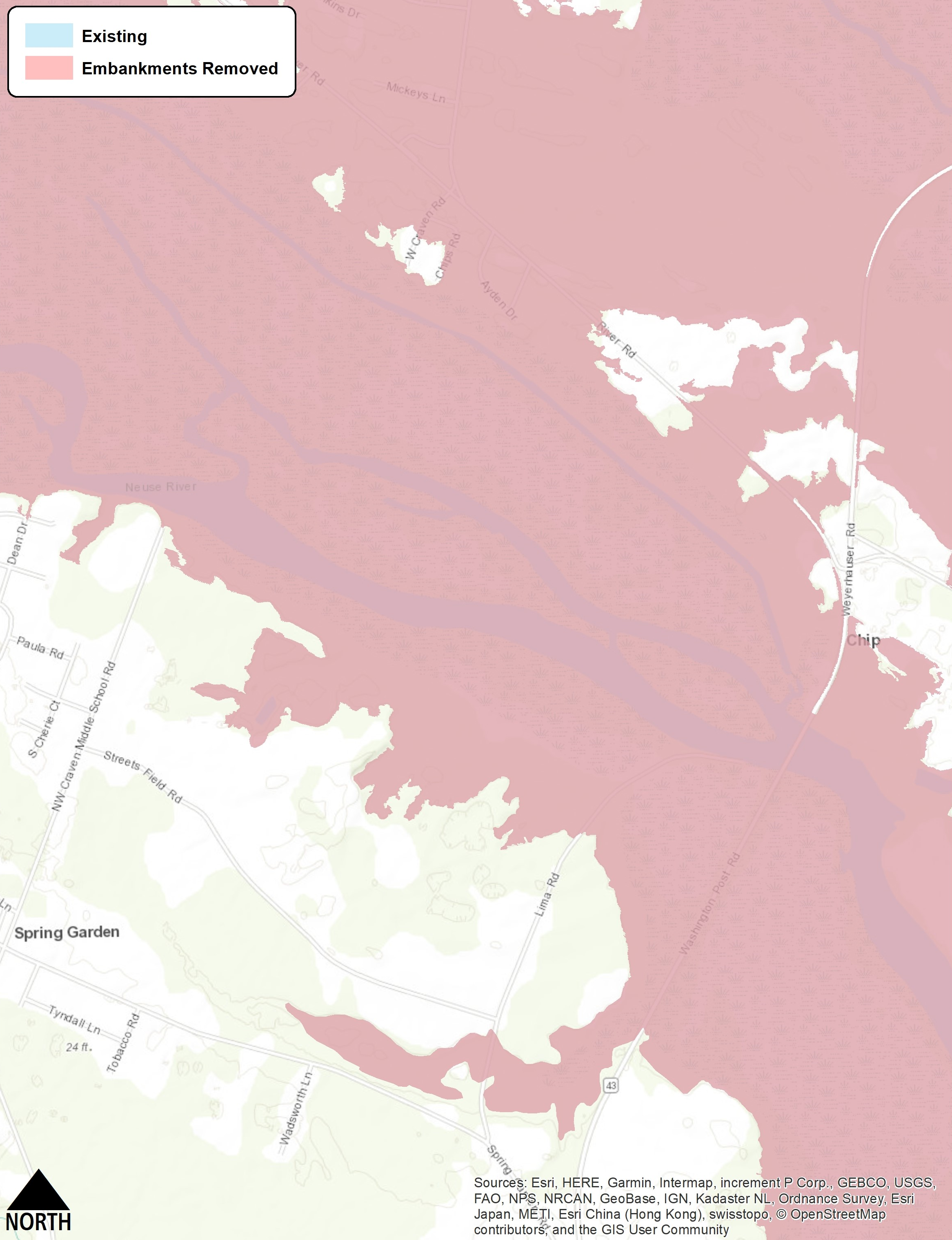 Figure 12: Flood extents for a Hurricane Matthew-scale event comparing the existing condition (blue) to the reduced floodplain extent (pink) that can be achieved by modifying the N.C. 43 Bridge and the downstream Railroad Bridge over Swift Creek. The 0.1-foot reduction in water surface is so minor that it results in no distinguishable change in the areal extent of flooding.