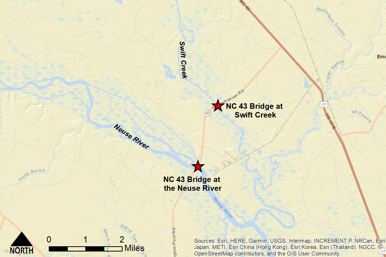 Street map of Craven County bridges investigated in the modeling study.