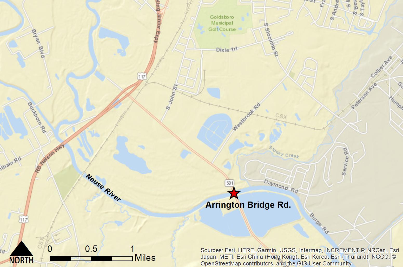 Street map of Goldsboro bridge investigated in the modeling study.