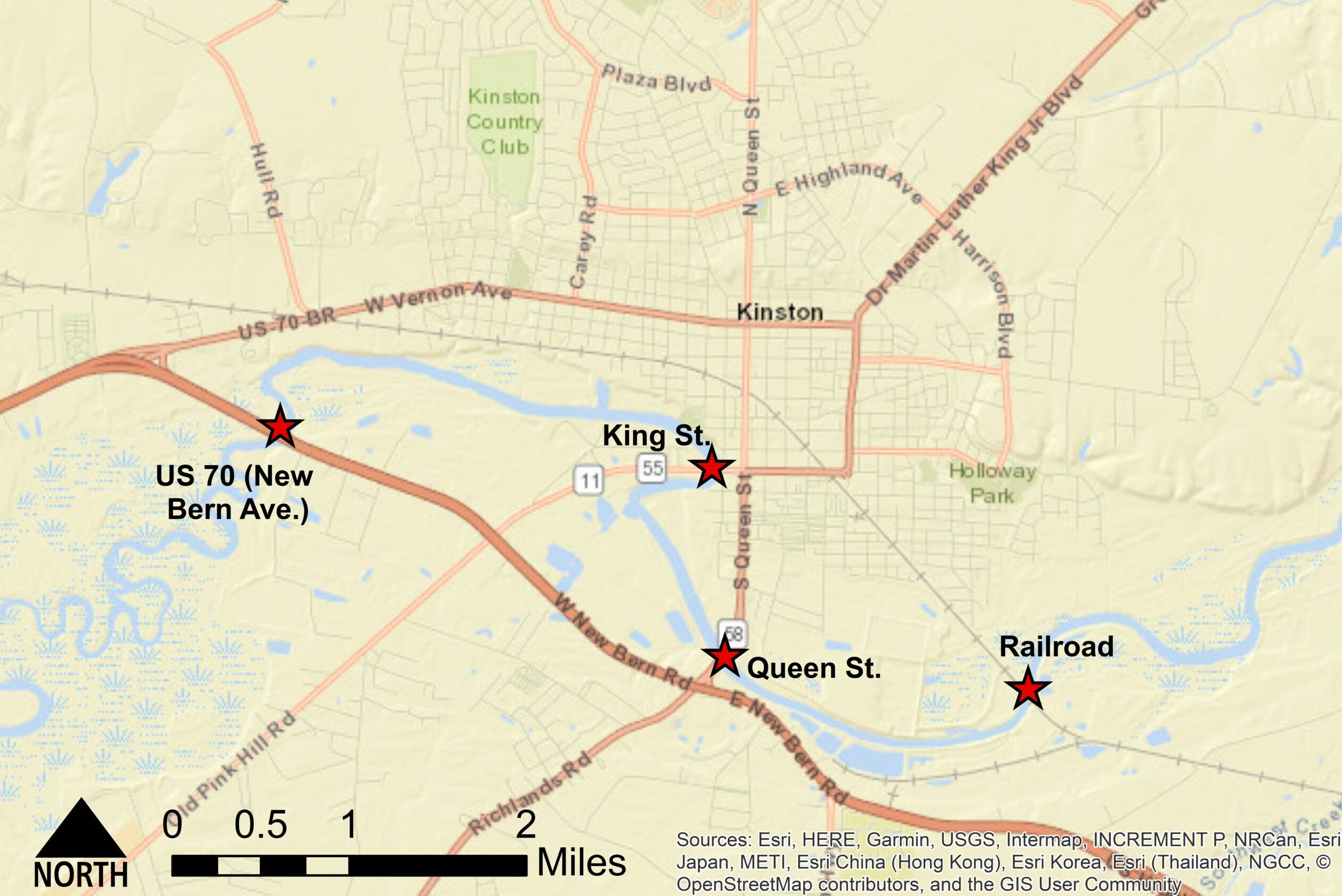 Street map of Kinston bridges investigated in the modeling study.