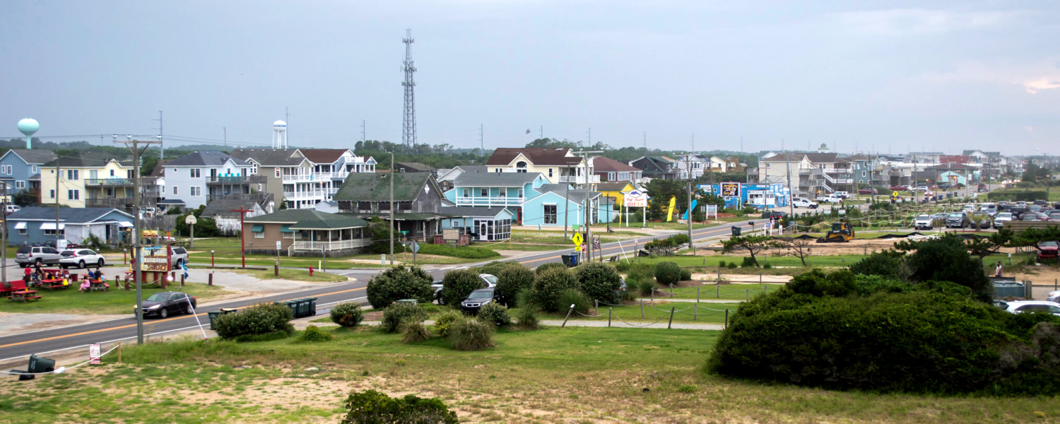 A scene looking up the main street through the Town of Nags Head in the Outer Banks